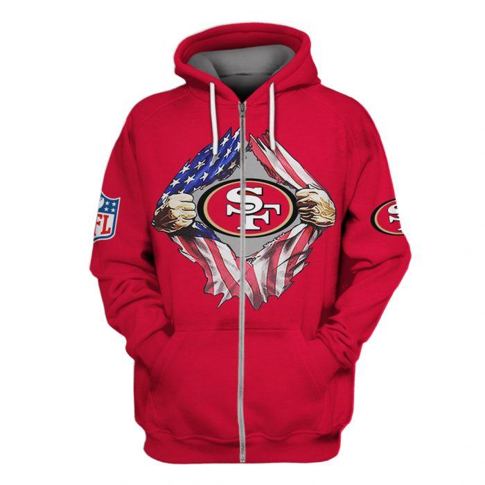 san francisco 49ers american flag full over printed zip hoodie