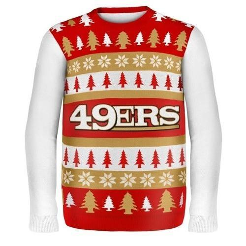 san francisco 49ers word mark ugly christmas sweater 1