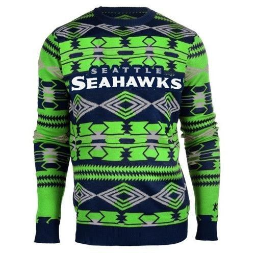 seattle seahawks aztec print ugly christmas sweater 1