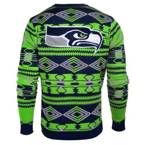 seattle seahawks aztec print ugly christmas sweater 3
