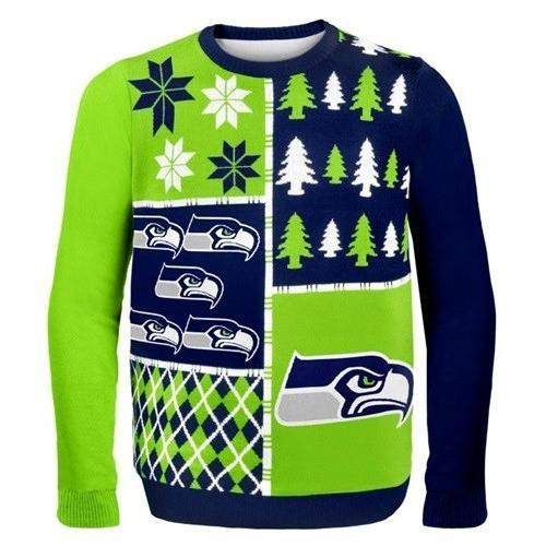 seattle seahawks busy block ugly christmas sweater 2