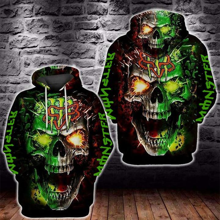 skull monster energy and fox racing symbol full printing hoodie