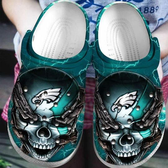skull philadelphia eagles football crocband clog 1