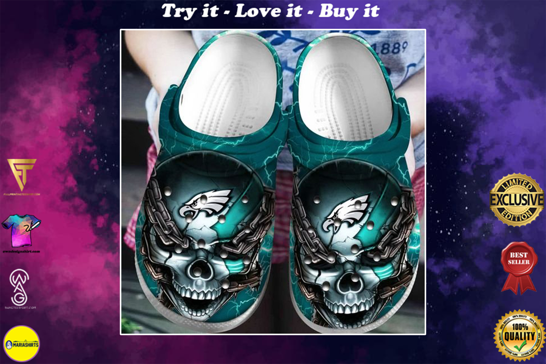 skull philadelphia eagles football crocband clog - Copy
