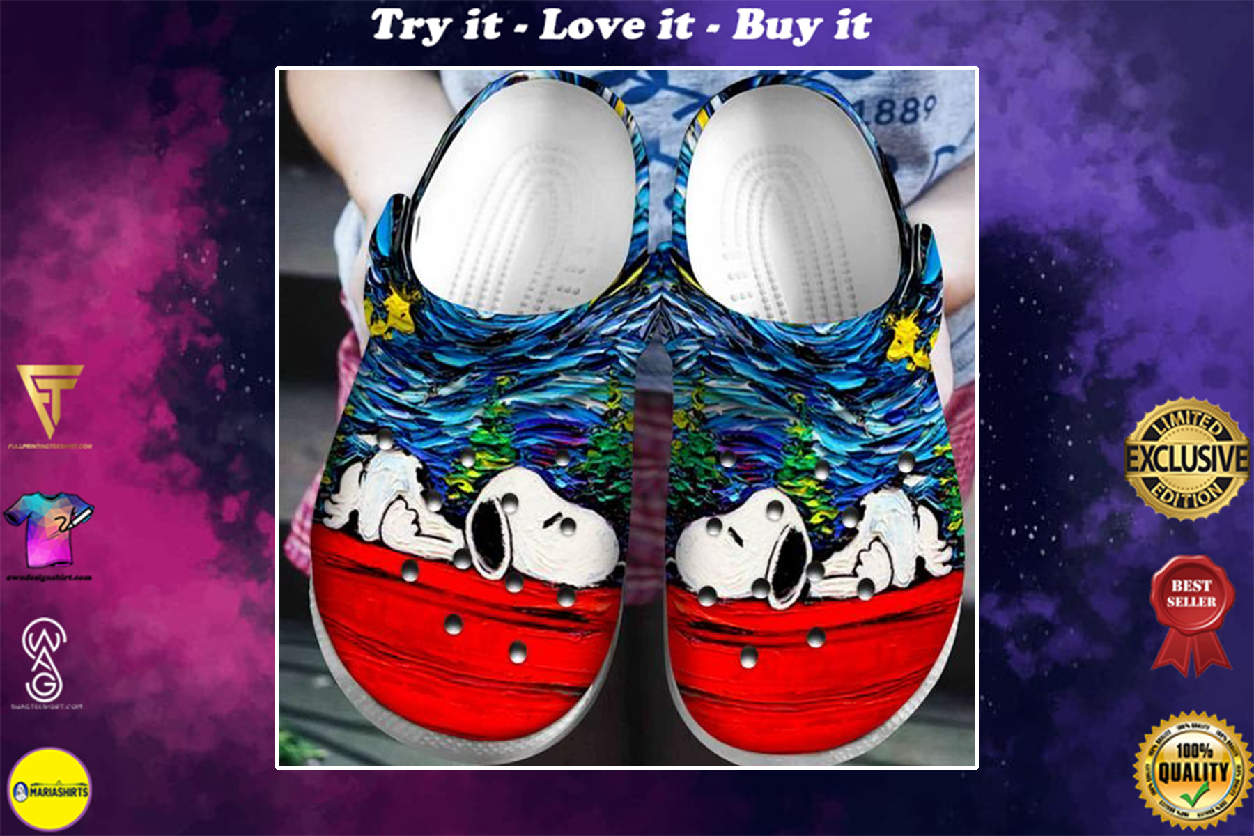 starry night vincent van gogh snoopy crocband clog - Copy