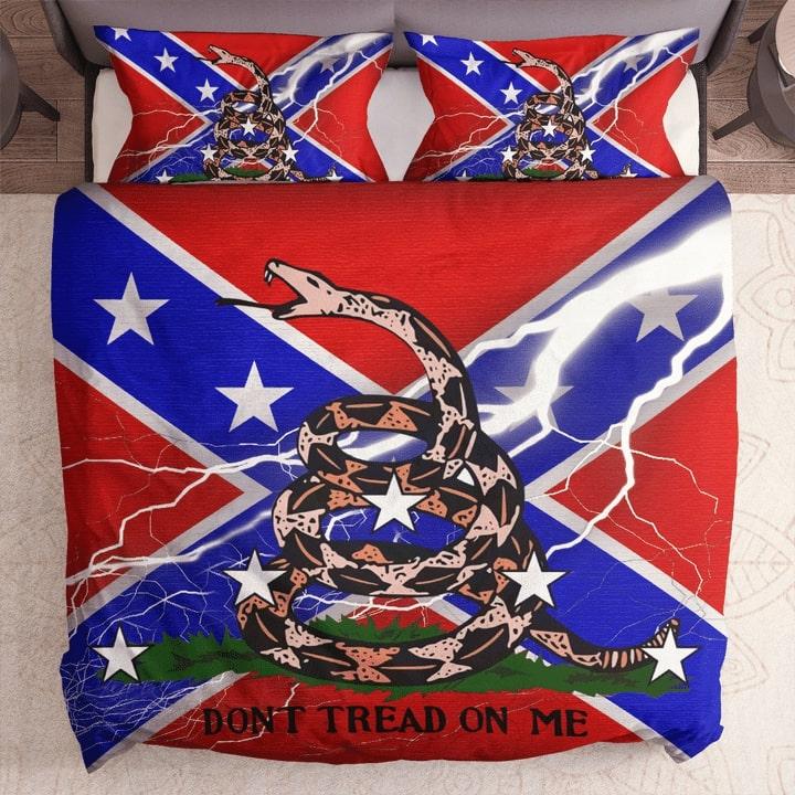 the gadsden flag and confederate flag bedding set 1