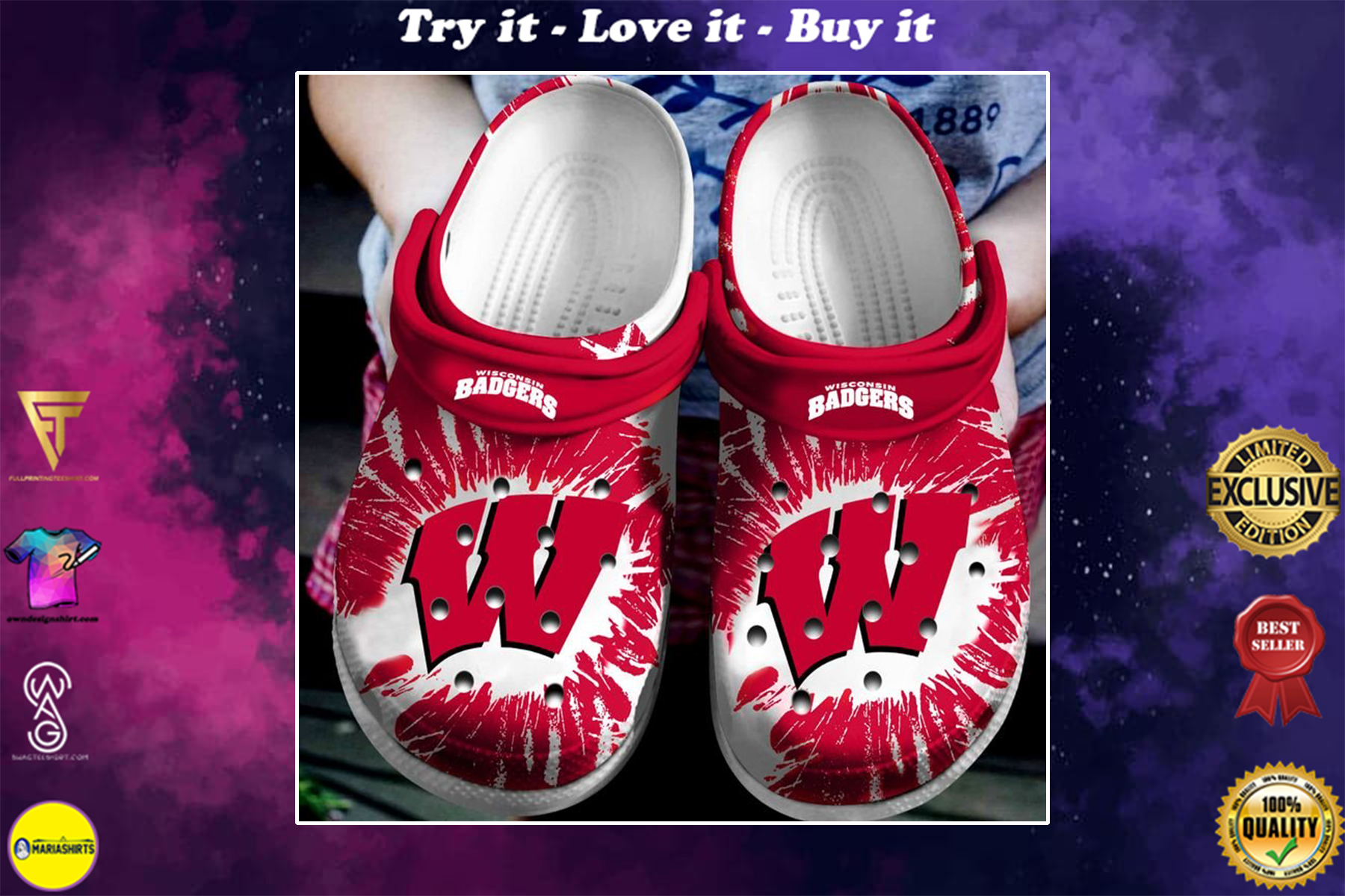 the wisconsin badgers football crocband clog - Copy