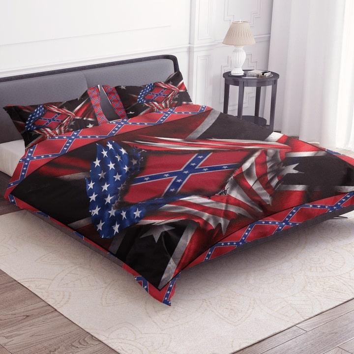 usa flag and confederate flag bedding set 2