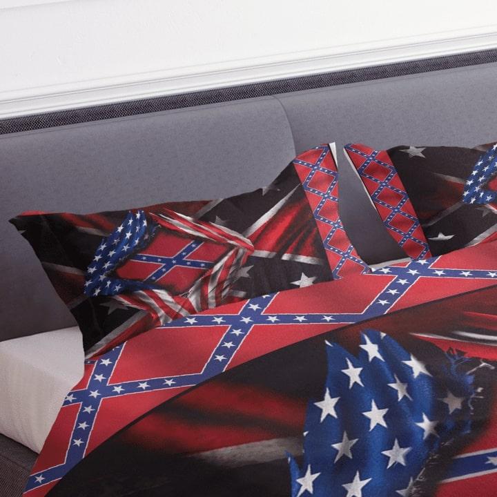 usa flag and confederate flag bedding set 3