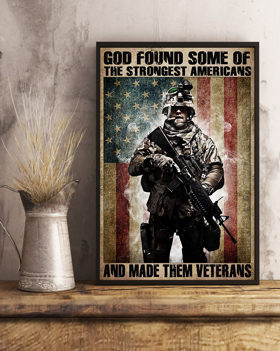 God found some of the strongest americans and made them veterans vintage poster 3
