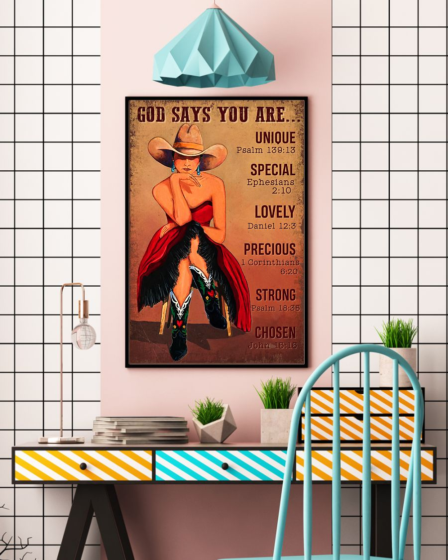 God says you are unique special lovely precious vintage poster 4