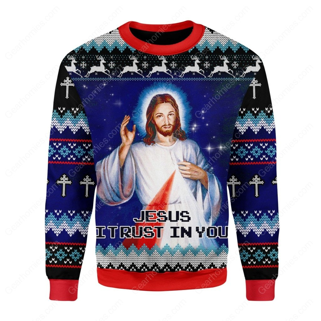Jesus i trust in you all over printed ugly christmas sweater 3