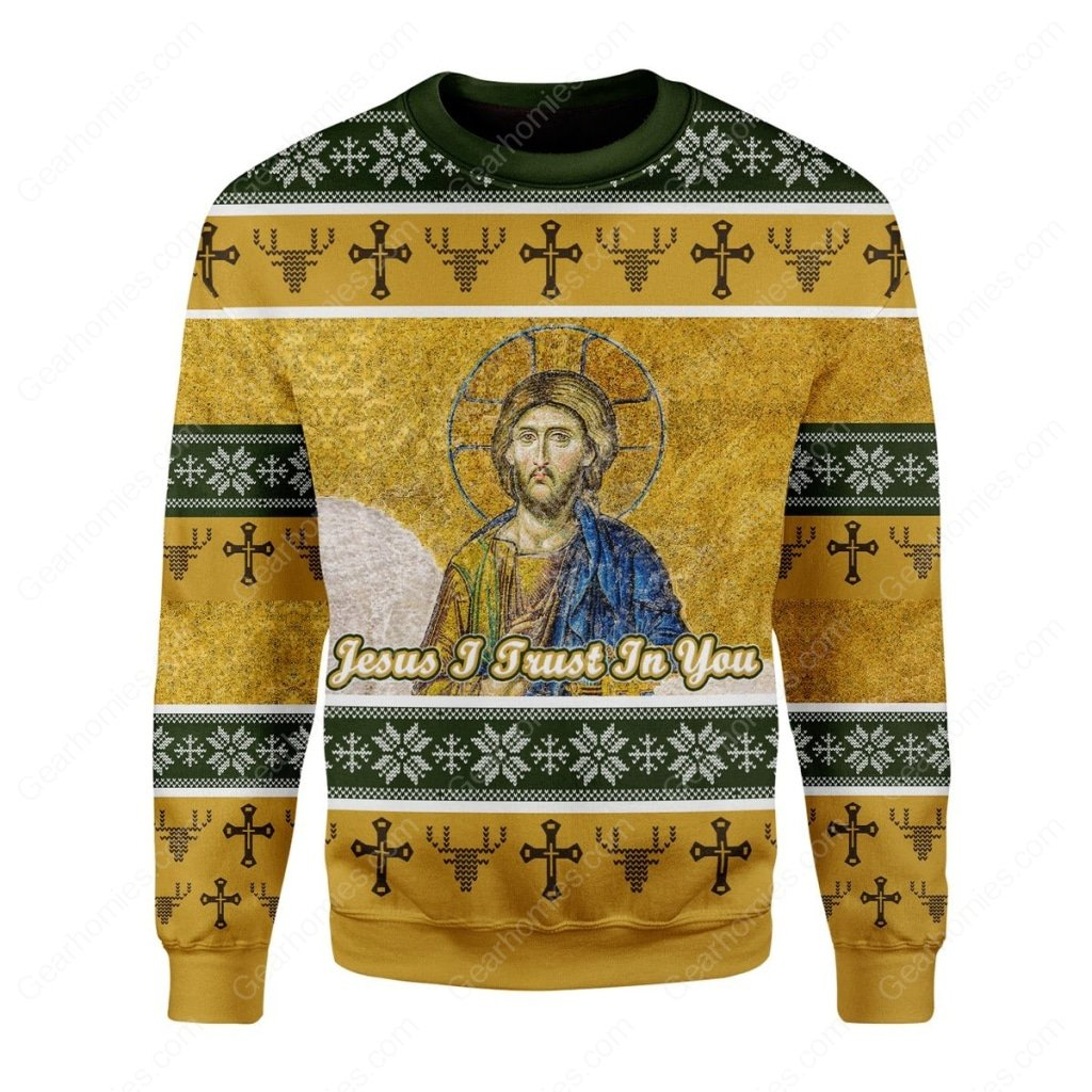 Jesus i trust in you vintage all over printed ugly christmas sweater 3
