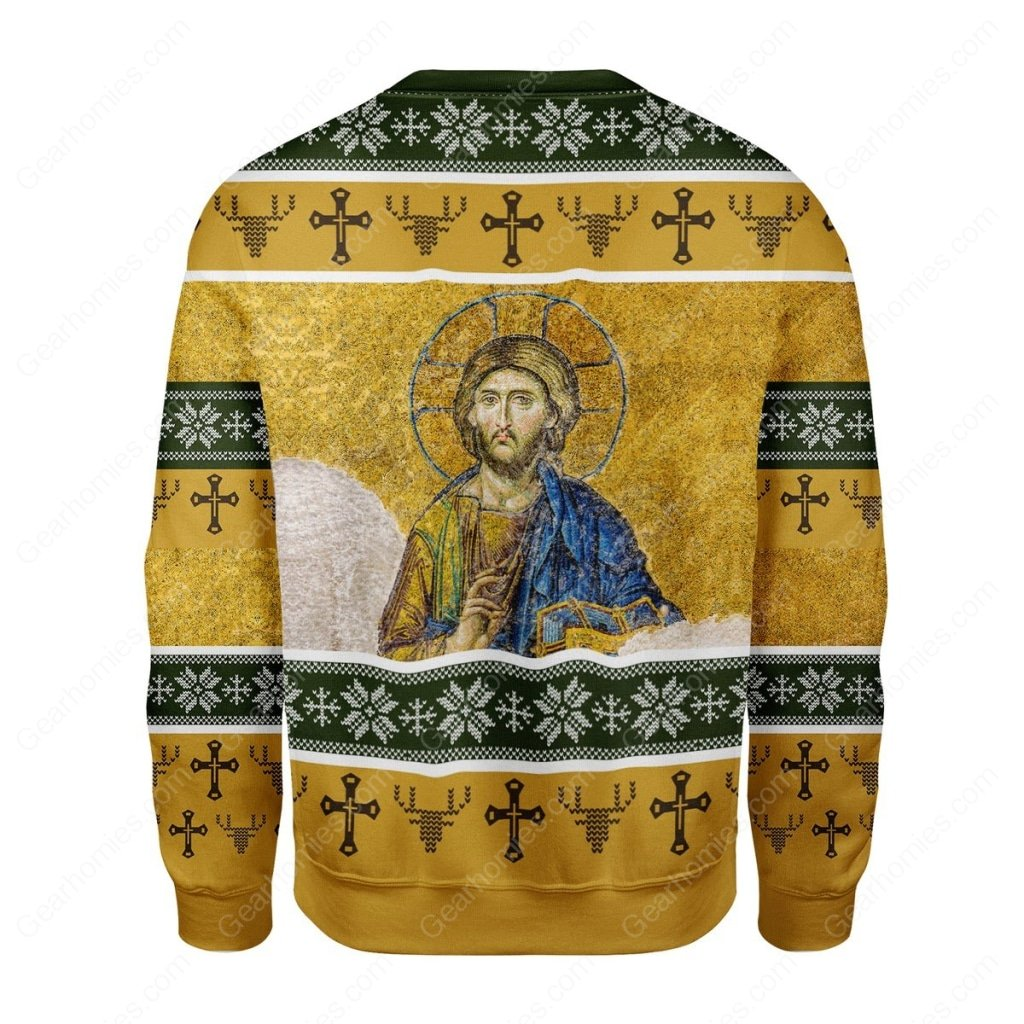 Jesus i trust in you vintage all over printed ugly christmas sweater 4