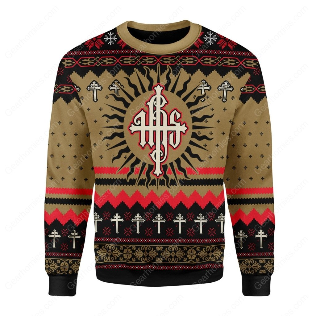 Jesus ihs all over printed ugly christmas sweater 3