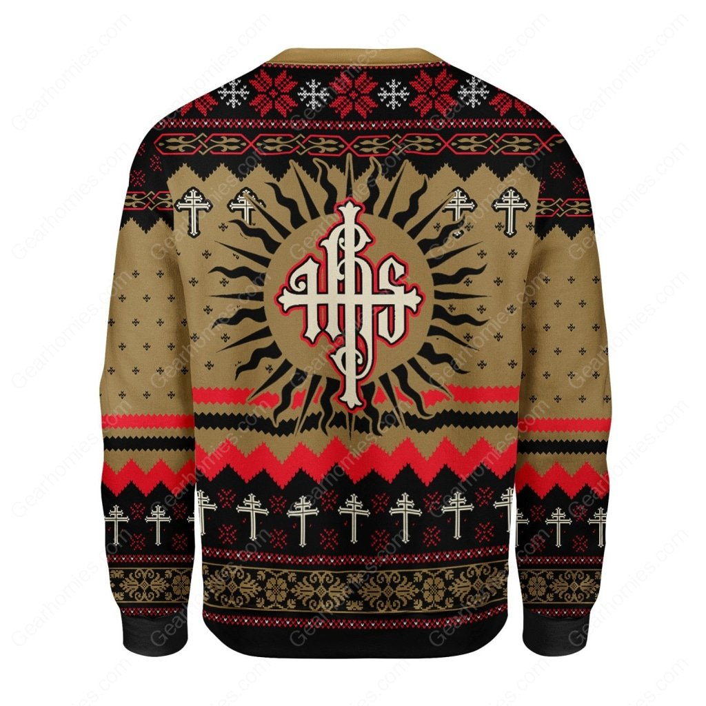 Jesus ihs all over printed ugly christmas sweater 4