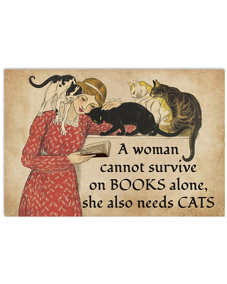 a woman survive on books alone she also needs cats vintage poster 1