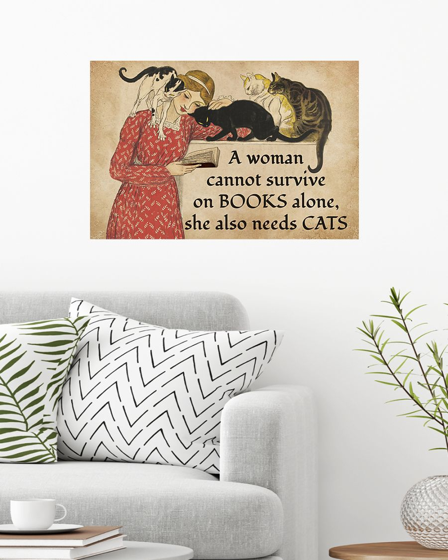a woman survive on books alone she also needs cats vintage poster 2