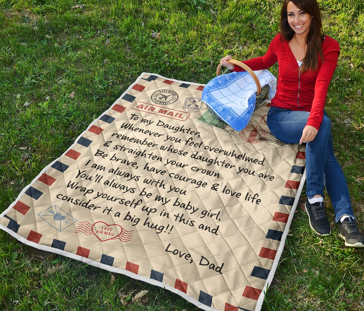 air mail letter to my daughter youll always be my baby girl your dad quilt 2