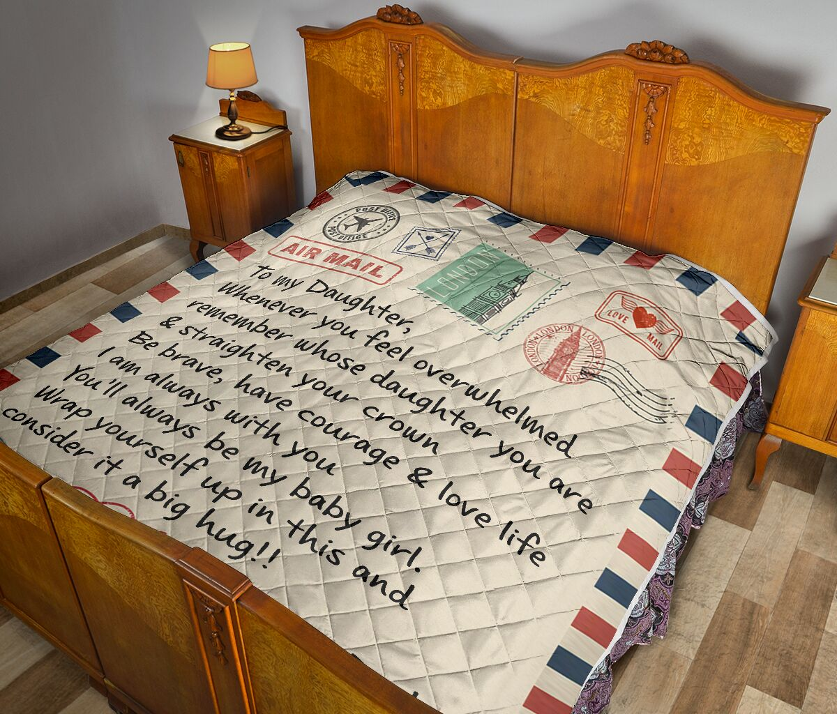 air mail letter to my daughter youll always be my baby girl your dad quilt 4