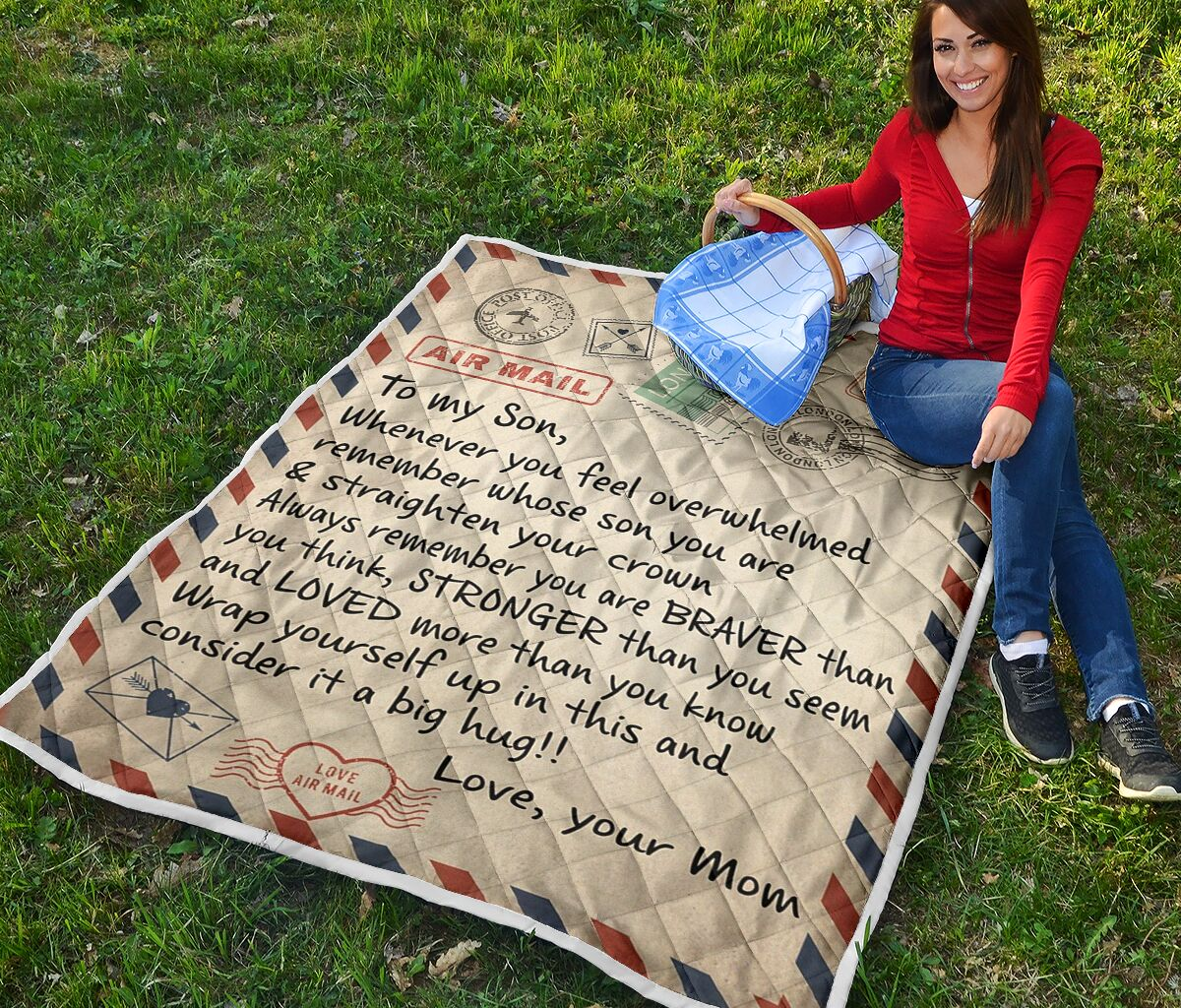 air mail letter to my son always remember you are braver than you think your mom quilt 2