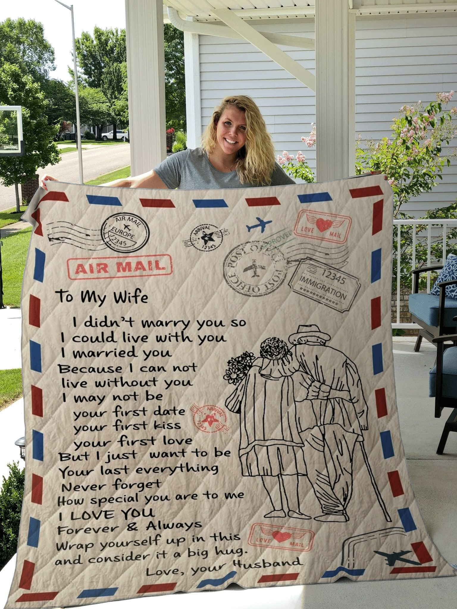 air mail letter to my wife i love you forever and always your husband quilt 5