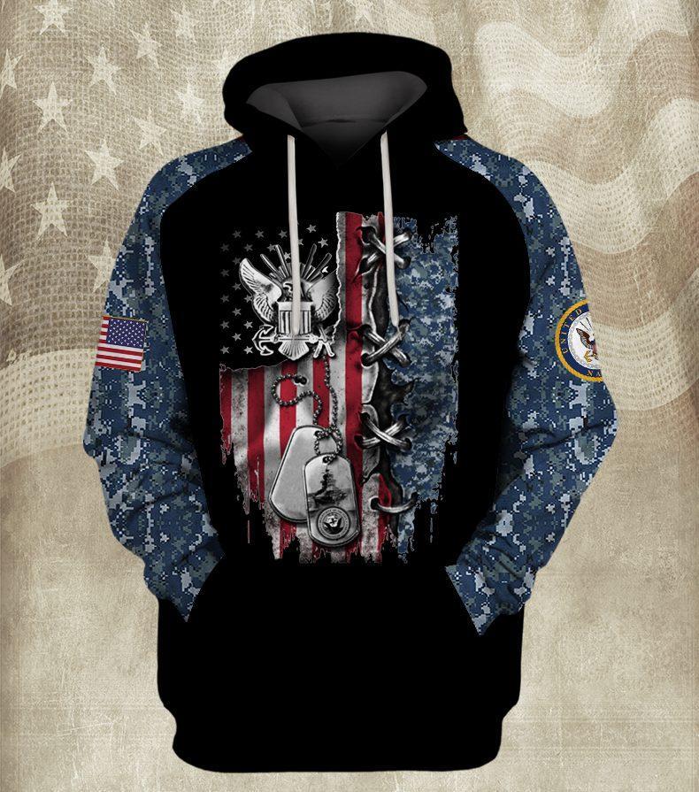 american flag united states navy full over printed hoodie