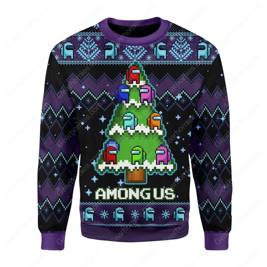 among us christmas tree all over printed ugly christmas sweater 3