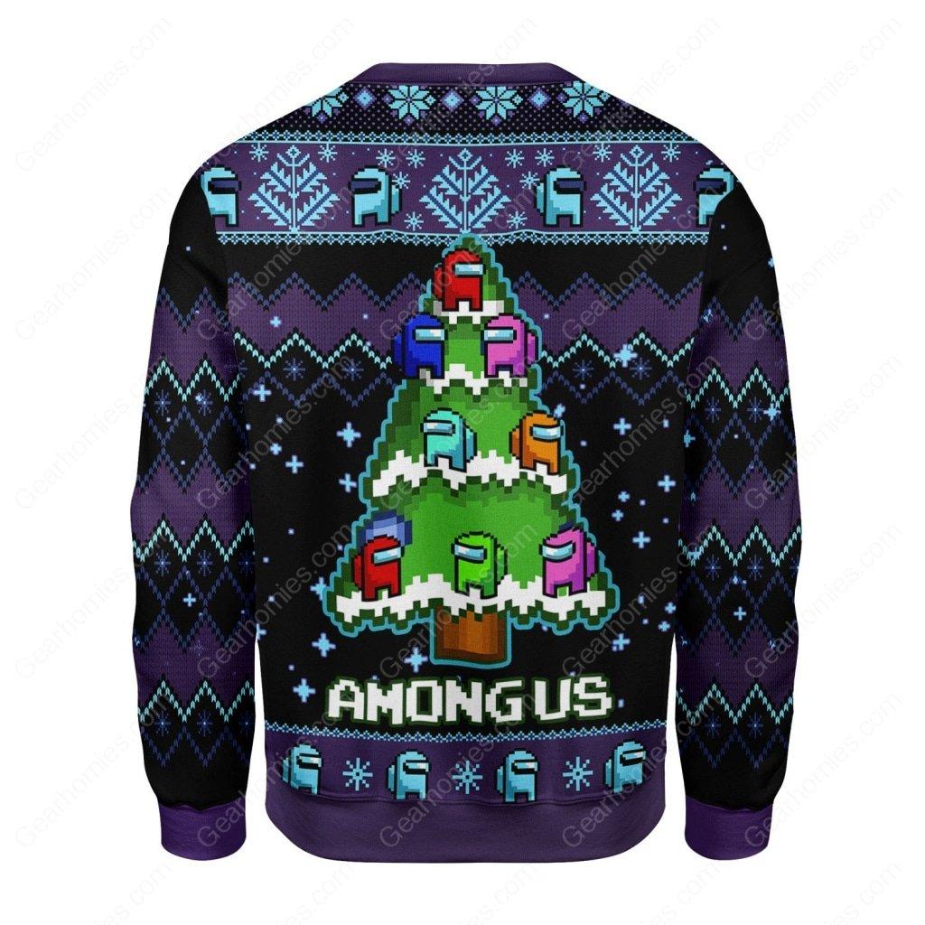 among us christmas tree all over printed ugly christmas sweater 4