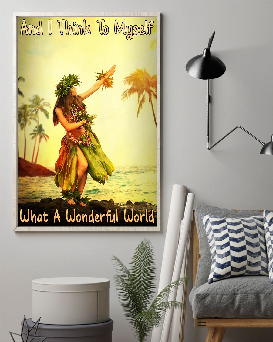 and i think to myself what a wonderful world hawaii girl vintage poster 2