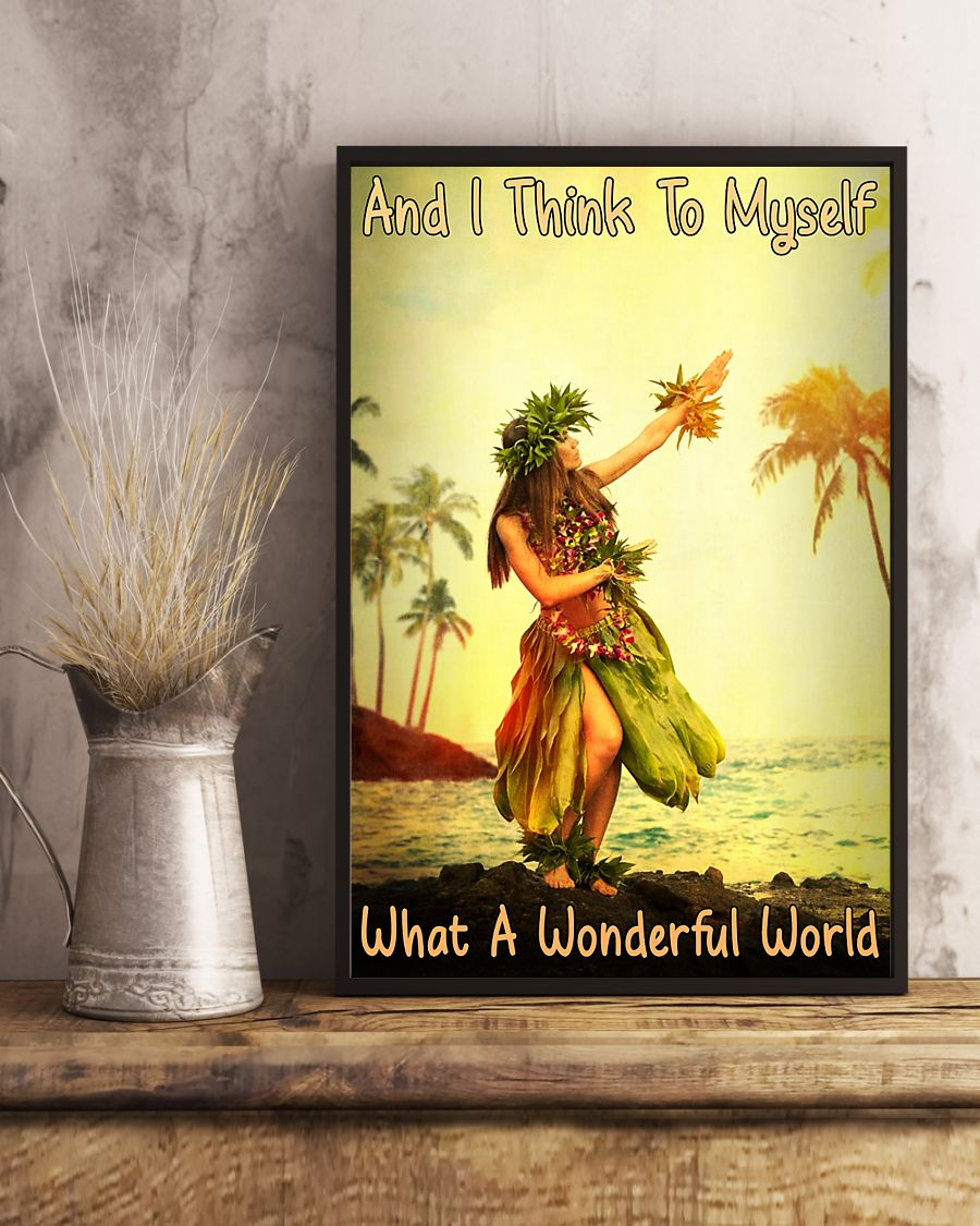 and i think to myself what a wonderful world hawaii girl vintage poster 3