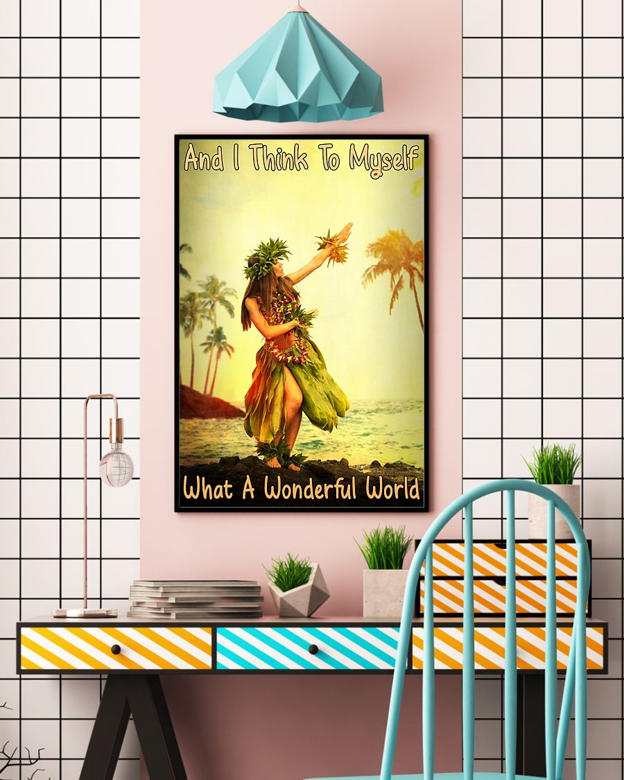 and i think to myself what a wonderful world hawaii girl vintage poster 4