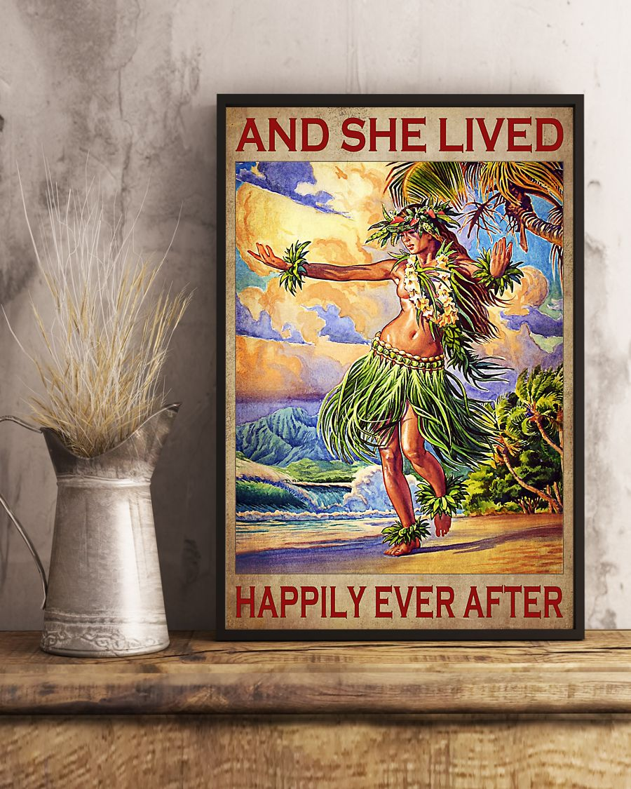 and she lived happily ever after hawaii girl vintage poster 3