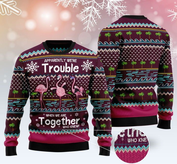 apparently were trouble when we are together who knew ugly sweater 4 - Copy