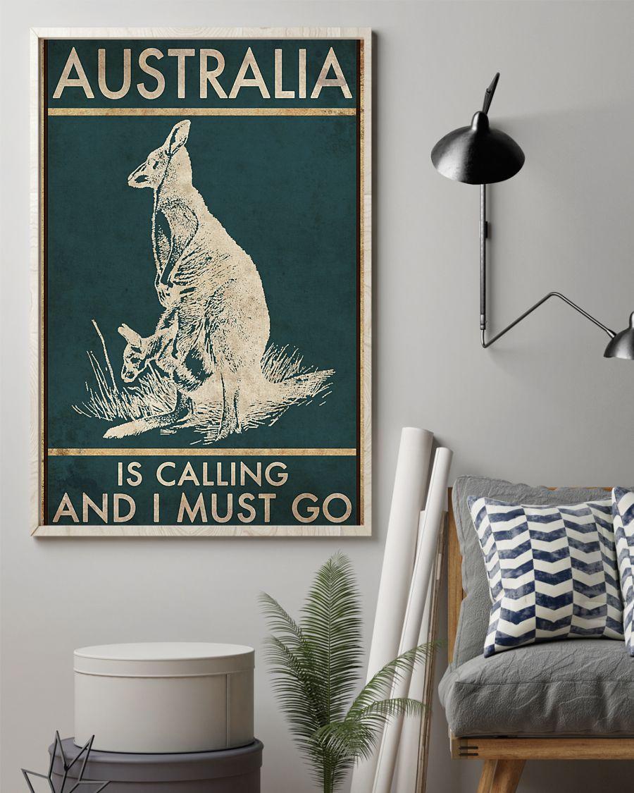 australia is calling and i must go kangaroo vintage poster 2