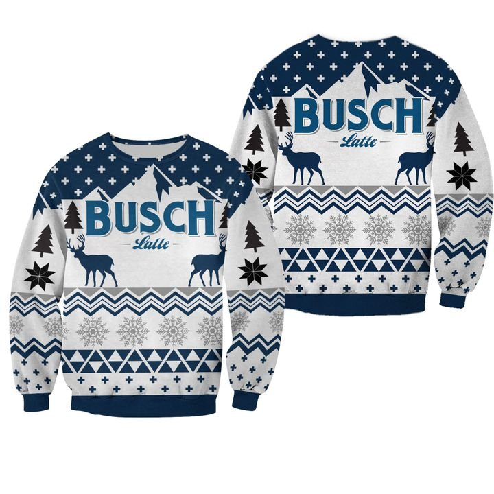 beer busch latte all over printed ugly christmas sweater 3