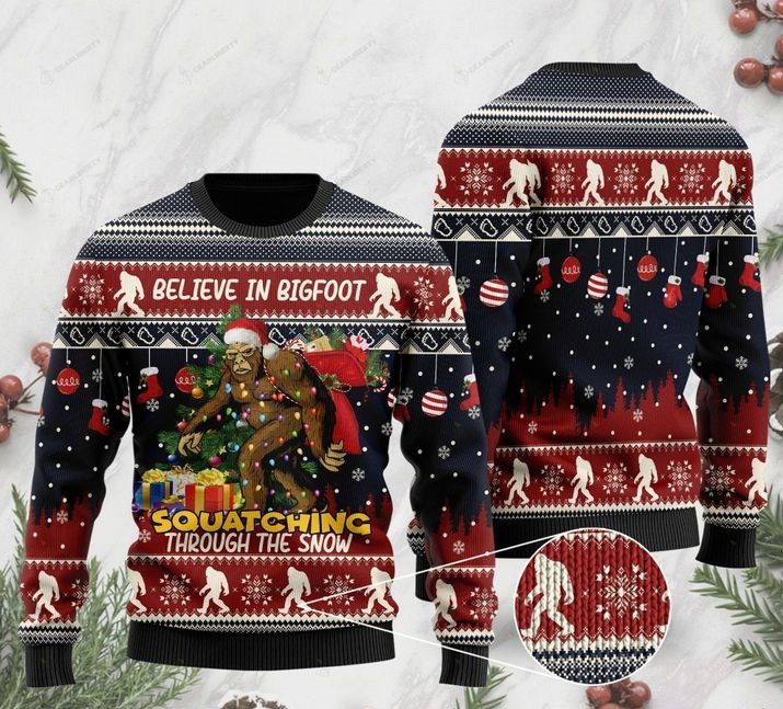 believe in bigfoot squat ching through the snow ugly christmas sweater 2