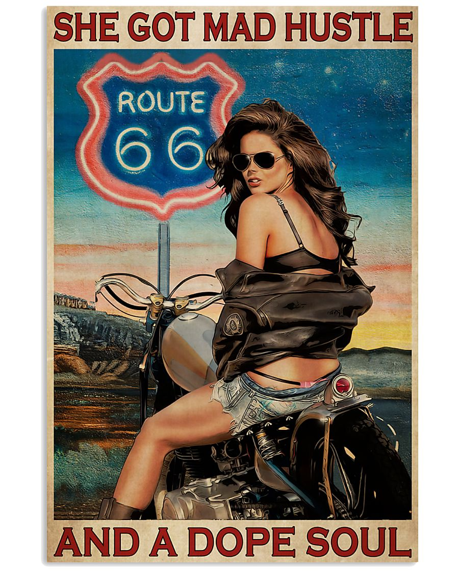 biker girl route 66 she got mad hustle and a dope soul vintage poster 1