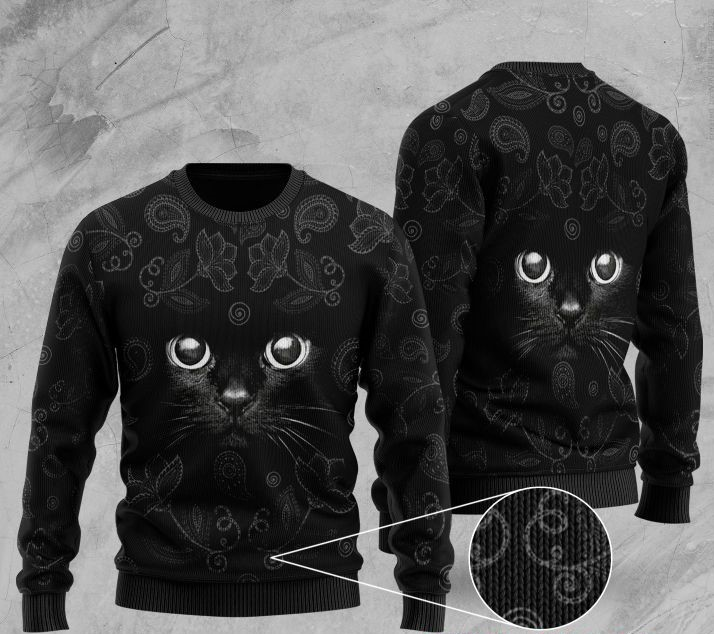 black cat full printing ugly sweater 2