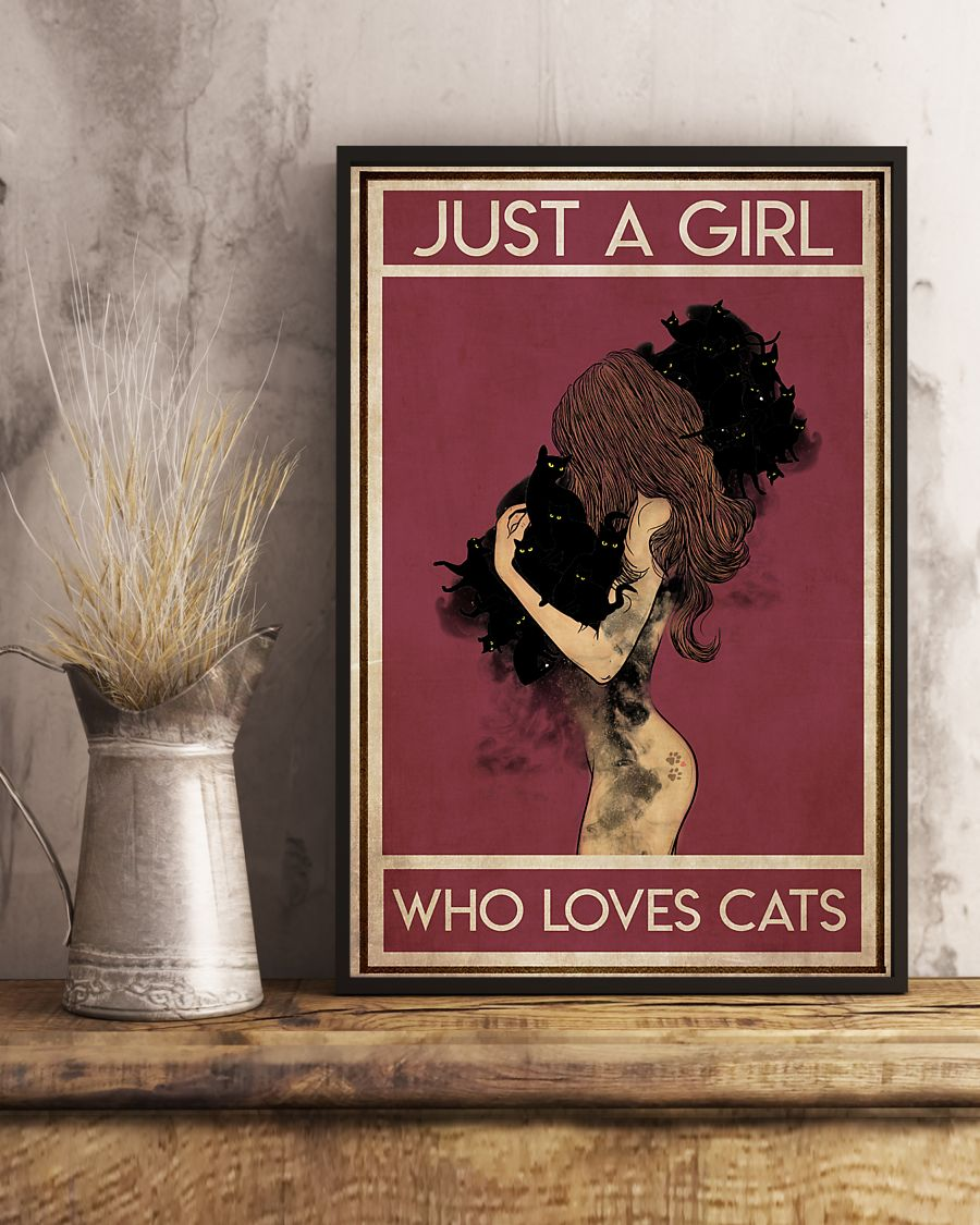 black cat just a girl who loves cats vintage poster 4
