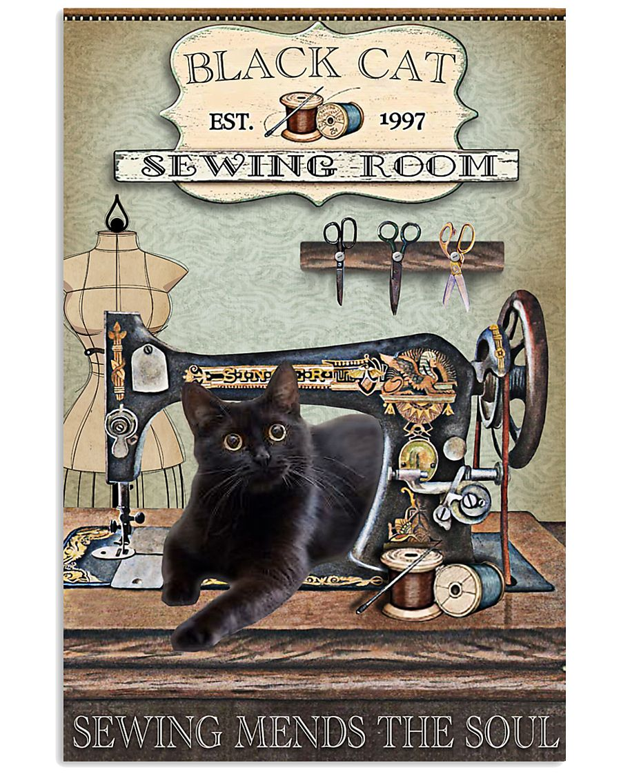 black cat sewing room sewing mends the soul vintage poster 1