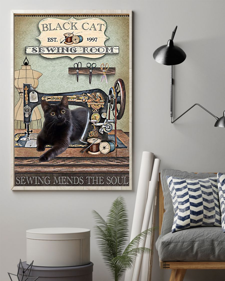 black cat sewing room sewing mends the soul vintage poster 2