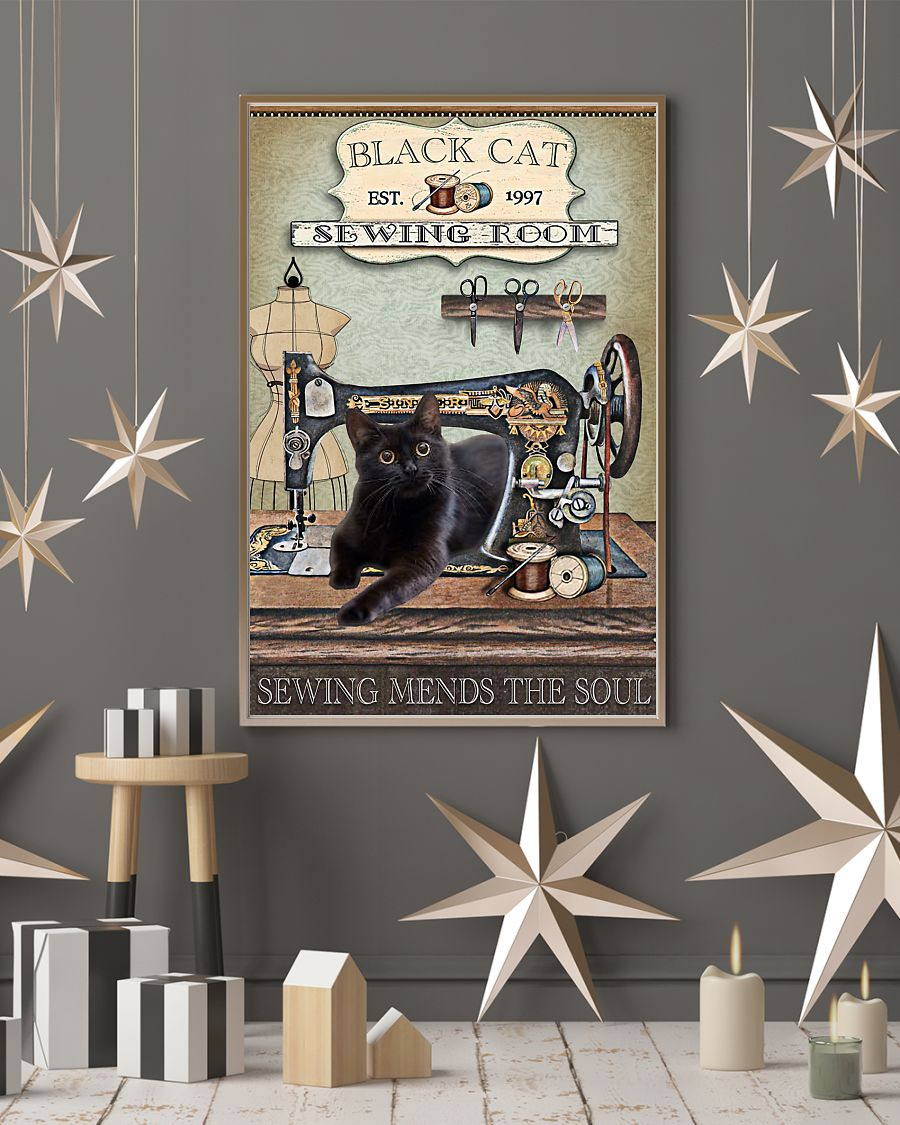 black cat sewing room sewing mends the soul vintage poster 3