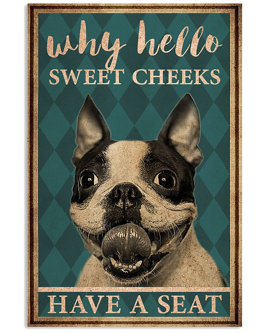 boston terrier why hello sweet cheeks vintage poster 1