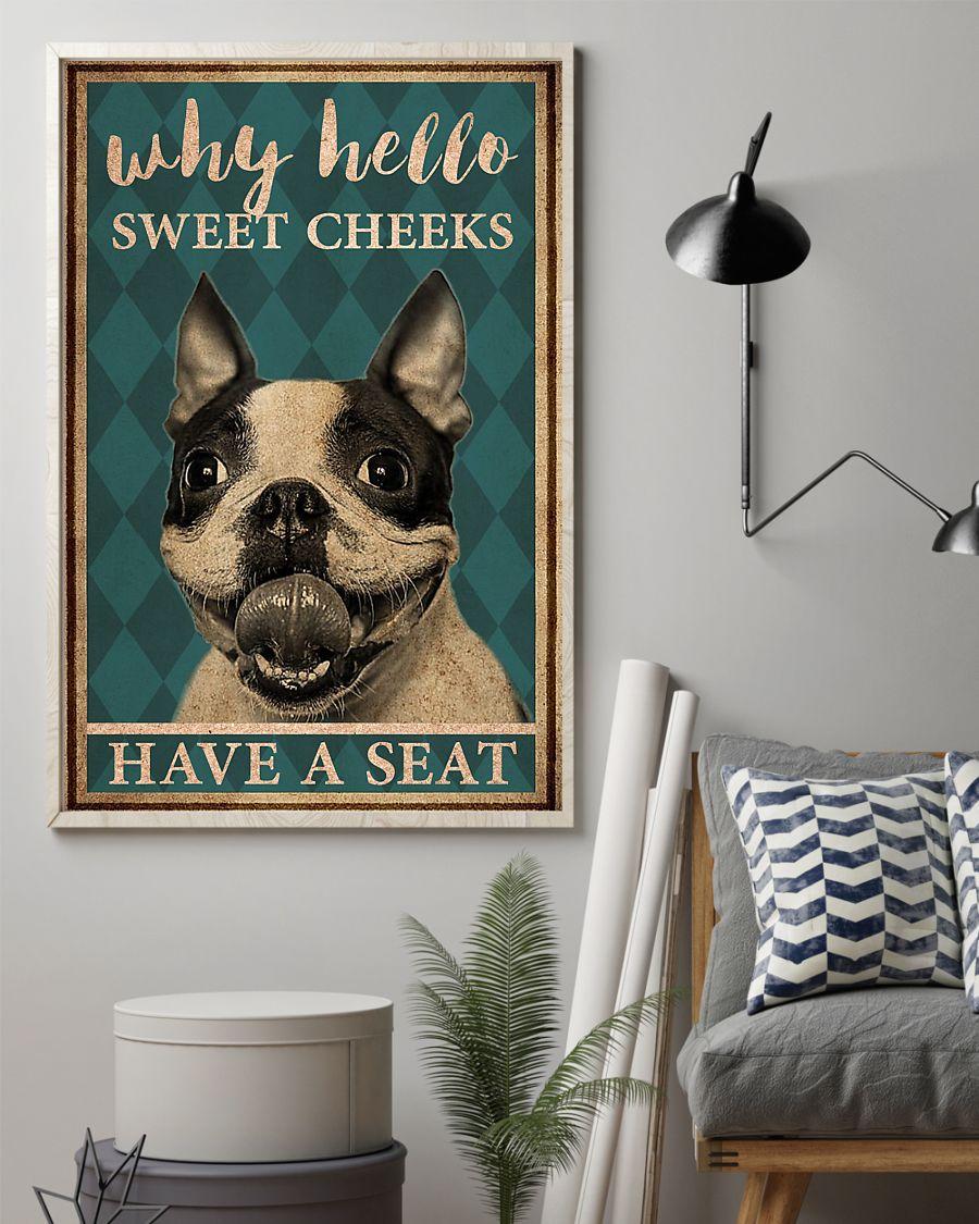 boston terrier why hello sweet cheeks vintage poster 2