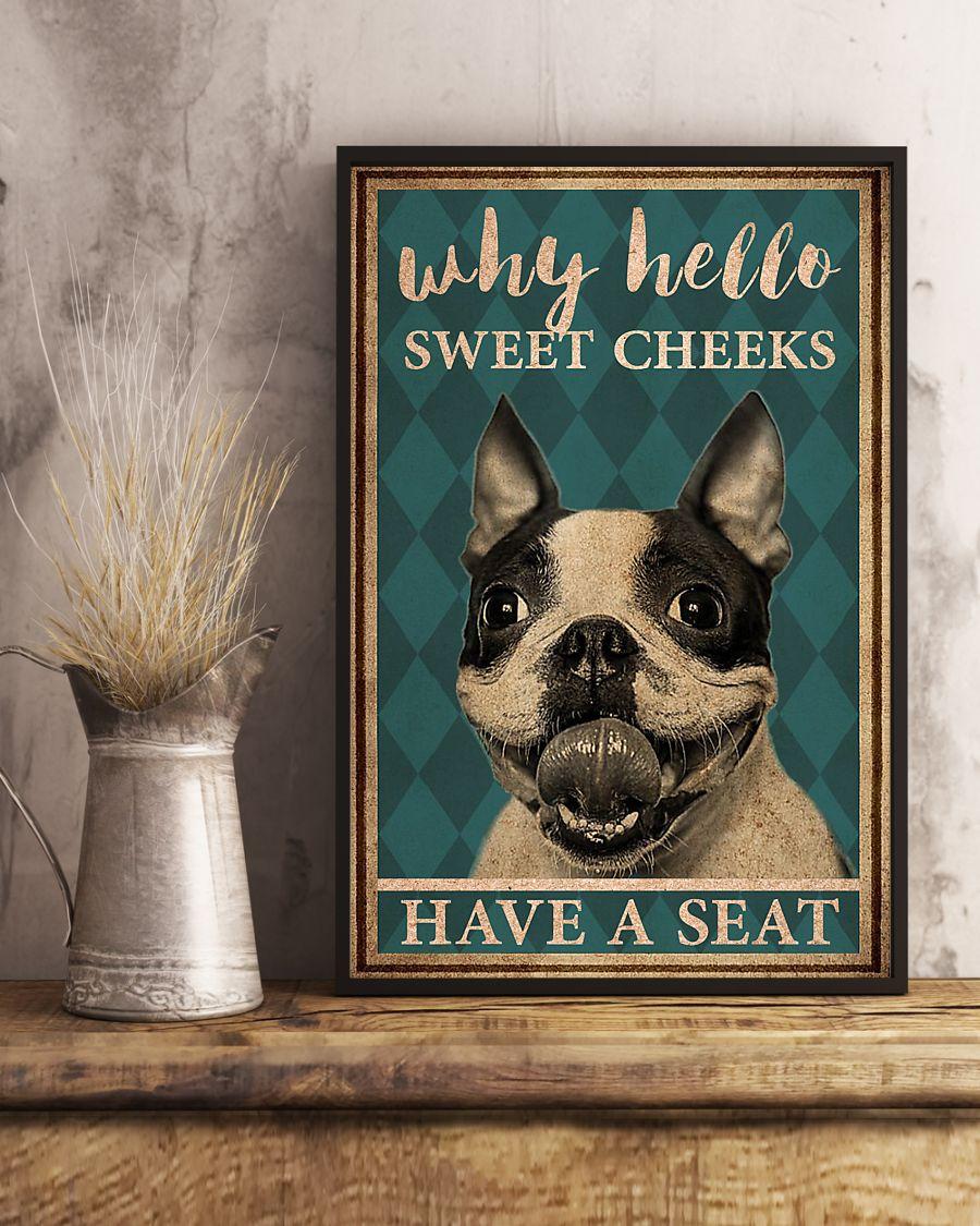 boston terrier why hello sweet cheeks vintage poster 3