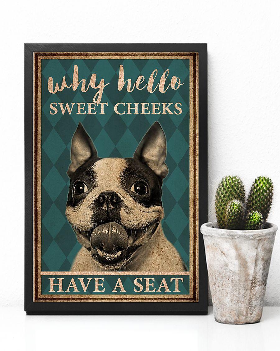 boston terrier why hello sweet cheeks vintage poster 4