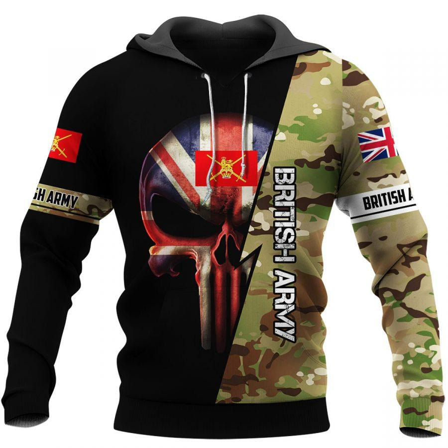 british army skull camo full over printed hoodie