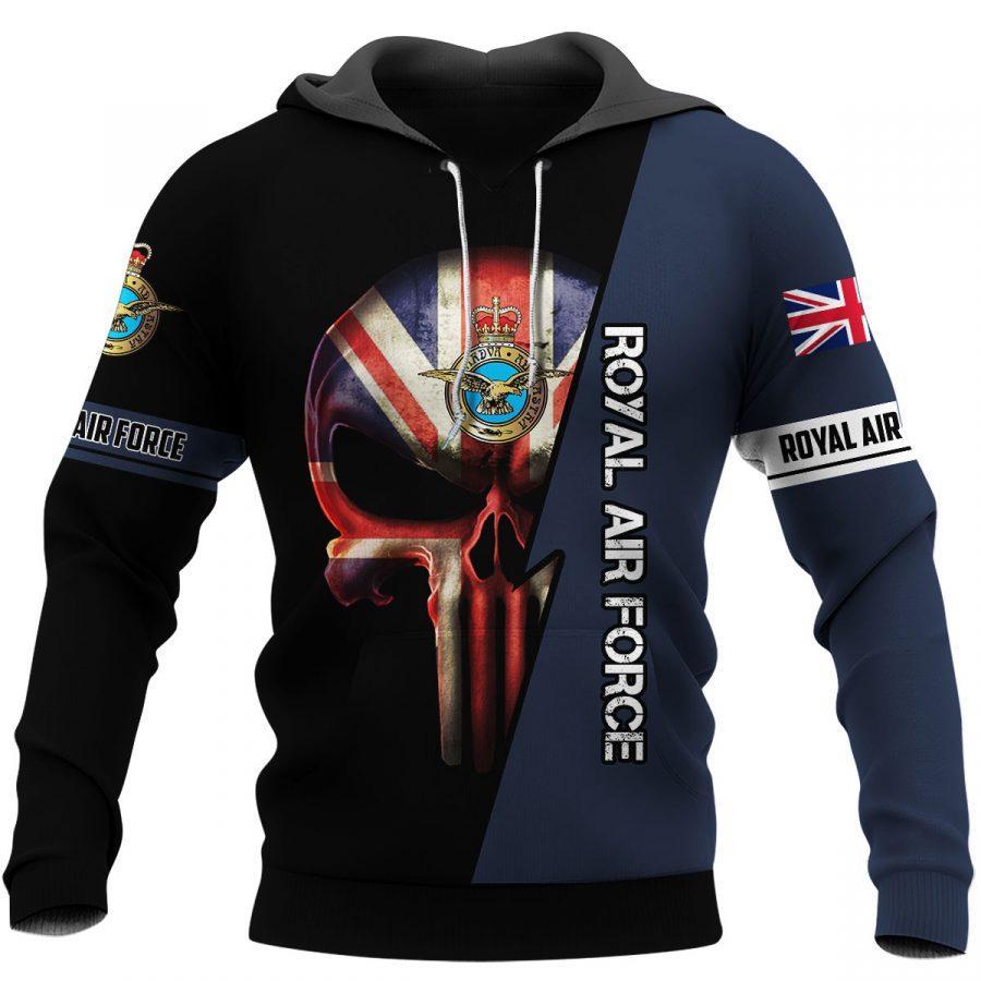 british royal air force skull england flag full over printed hoodie