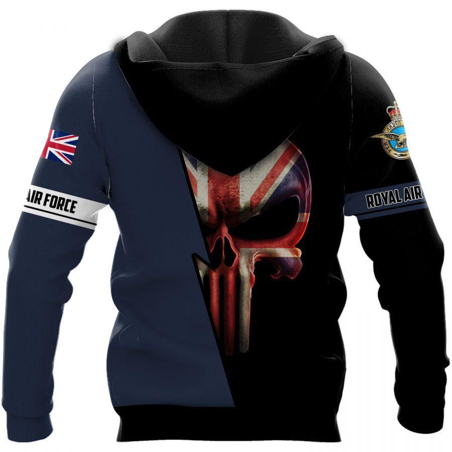 british royal air force skull england flag full over printed shirt 3